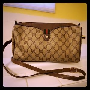 Gucci authentic GG logo canvas leather crossbody